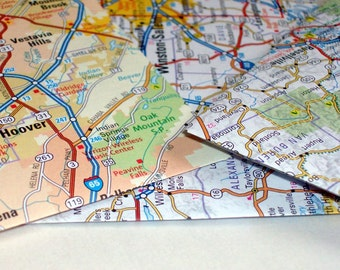 Handmade Business Size Envelopes - Road Map, Road Trip - Don't Get Lost - Stationery, Letter Writing, Mail