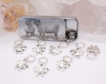 Tin of 10 Snag Free Sheep Knitting Stitch Markers, Snagless Ring Sheep Knitting Stitch Markers, Gift for Knitters, Knitting Notions