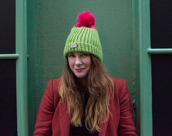 Pale Green-Pink Hat with furry pom pom