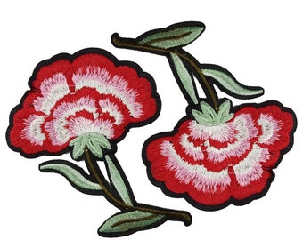 2 PCS Iron On Embroidered Red Flowers Roses Patches Appliques