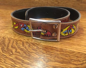Vintage Childs Spiderman Super Hero Marvel Comics Belt