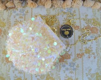 Vintage ivory/white satin beaded sequins evening purse/iridescent ivory sequins bridal/wedding clutch bag