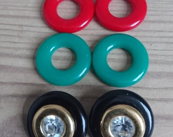 Vintage colourful clip on earrings