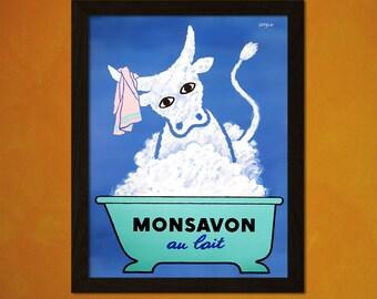 Monsavon Soap Poster - Bathroom Art Reproduction Bathroom Decor Children Poster Wall Prints Children Prints  t