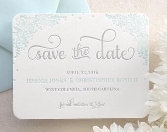 The Zinnia Suite - Letterpress Save the Date, Wedding Announcement, Blue, Grey, Laurel, Script, Simple, Modern, Flowers, Floral, Classic