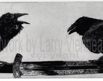 Raven artwork , Raven, Huginn and Muninn, crow, Etching, 4.5 inch x 10.5 inch 2013