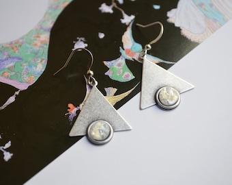 """Art nouveau"" silver, iridescent white cabochon earrings"