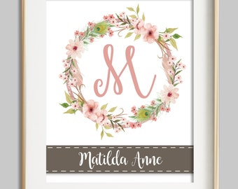 personalized nursery print, baby girl nursery wall decor, nursery wall art, girl wall art, floral monogram, gray pink coral nursery decor