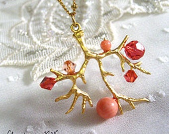 Coral tree gold Necklace