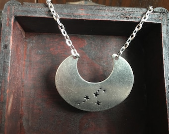 zodiac constelation stamped crescent bib necklace, personalised jewellery, bridesmaid gift