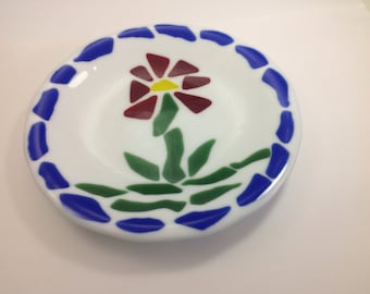 Fused Glass White Round Dish/Plate With A Red Flower