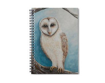 lined spiral owl writing journal, barn owl journal, owl notebook, blank book