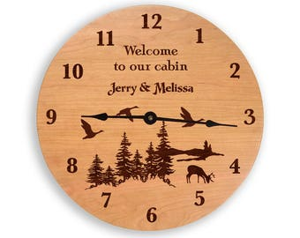 Personalized cabin clock, cabin wall clock, wood clock, personalized clock, lodge clock, custom clock, cherry clock, laser engraved  CL6007P