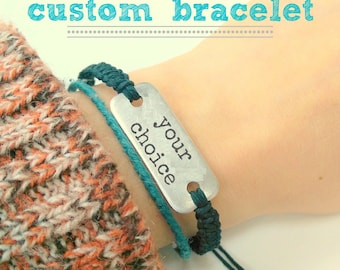 Custom bracelet // aluminum bracelet with adjustable hemp band