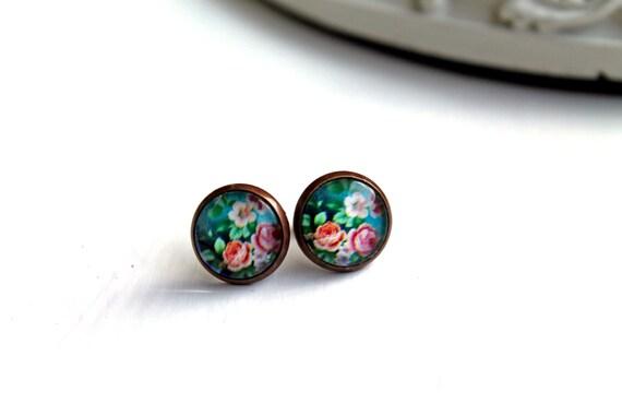 Pretty pink flower rose earrings studs  sweet lolita feminine