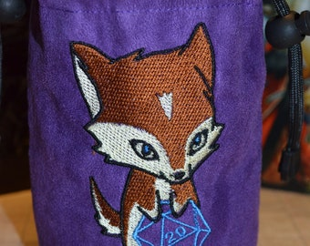 Dice Bag D20 Wolf Embroidered Purple suede