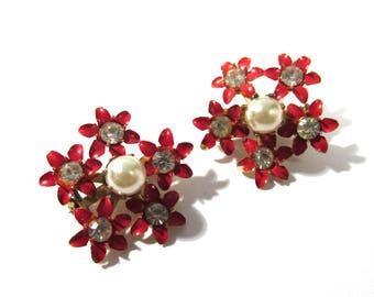 Red Enamel Rhinestone Flower Pins Two (2) VINTAGE Enamel Scatter Pins Brooches Pearls Red Enamel Rhinestones Ready to Wear Jewelry (D270)