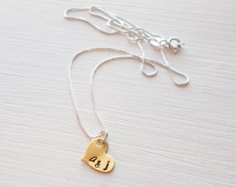 Hand Stamped Brass Pendant Sterling Silver Couple's or Individual's Initial Necklace Tiny Heart Charm on Dainty 0.8 mm Box Chain