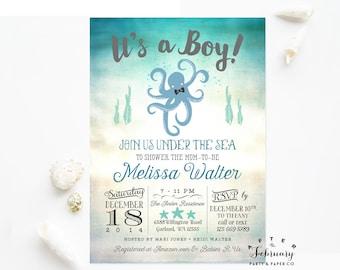 Octopus Baby Shower Invitation Boy Under the Sea Baby Shower Invitation Boy Sea Creature Baby Shower Printable No.1015BABY
