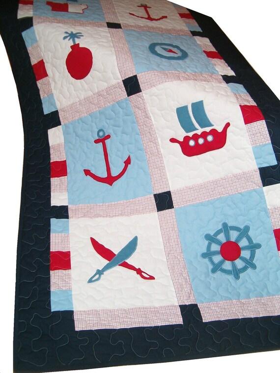 Pirate Blanket, Patchwork Quilt Blanket,Toddler Quilt Blanket, Ship's Bedding into Children's Room