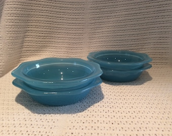 "Pyrex JAJ Blue Sprayware Dishses 1950's 6"" Diameter set of 4 bowls"