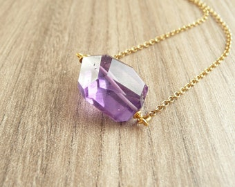 Raw Amethyst Necklace, Amethyst Necklace Gold, Amethyst Jewelry, Raw Stone Necklace, Healing Crystal Jewelry