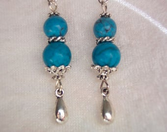 Turquoise Blue Earrings, Blue Howlite Earrings, Blue Earrings, Silver, Drop Earrings, Clip ons Available