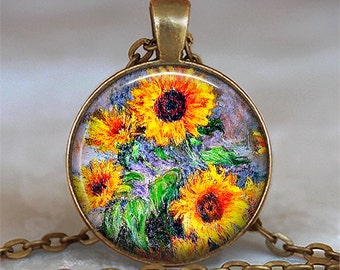 Monet Sunflowers pendant Sunflower necklace, Sunflower jewellery Sunflower necklace, Monet art pendant keychain key chain key ring key fob