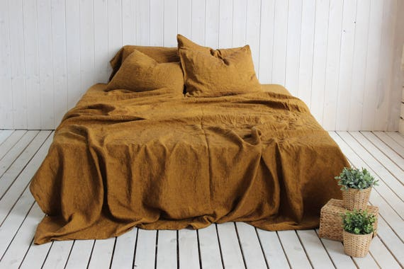 Organic Stone Washed Linen Super Soft Sheets Set Golden Brown
