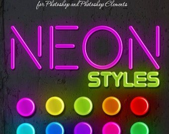 Photoshop Layer Styles - Designer Gems - NEON - 1 Photoshop Style file (.ASL) containing 10 unique Styles to add to your Text.