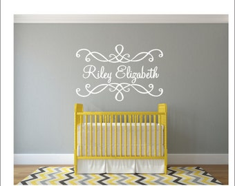 Personalized Name Wall Decal Name with Scrolls Vinyl Decal Fancy Ornate Scroll Decal Girls Nursery Decal Bedroom Decal Vinyl Wall Decal