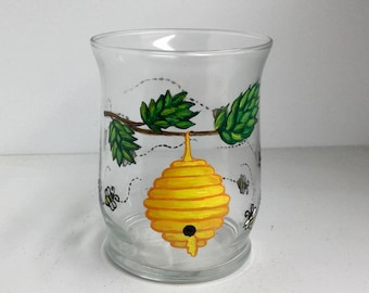 Hand Painted Bee Hive Glass Candle Holder