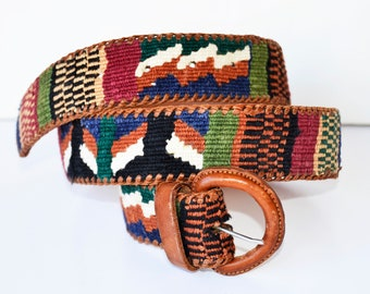 leather and cotton woven belt, native belt, boho belt, colorful belt, women's belt, craft belt, belt 37, size 37