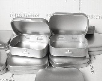 One Mini Metal Hinged Tin, 20ml Small Storage Box, Small Organizer, Blank In Silver Color