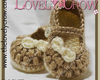 Booties Crochet Pattern LITTLE BO PEEP Mary Janes