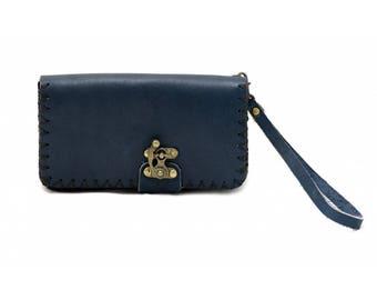 10504: Rozat Leather Purse (Dark Blue)