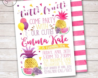 Tutti Fruiti Watercolor Birthday Party Invitation DIGITAL OR PRINTED