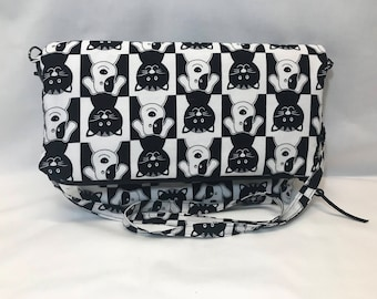 Dog and Cat Purse, Black and White, Shoulder Bag, Handmade, Cotton