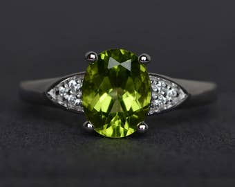 peridot ring oval shaped engagement ring green stone ring sterling silver ring promise ring August birthstone ring