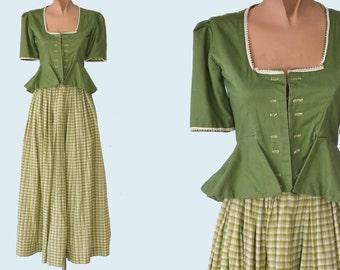 1930s Handmade Landhausmode Dirndl Green Skirt and Blouse Set size XS