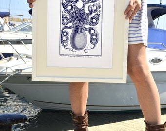 Octopus in navy blue back side - Octopus A3 plus sized Poster Wall Art - sea life print SAS258A3P