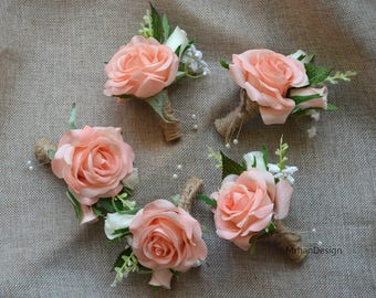 Coral boutonniere etsy light coral champagne rose boutonniere real touch flowers rose groom groomen silk flower boutonniere mightylinksfo