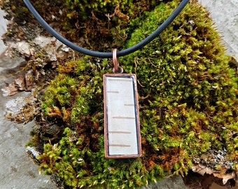 Small Birch Bark Rectangle Tab Necklace in Copper