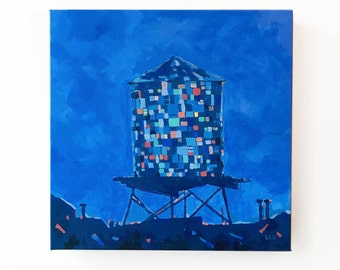 Painting: Custom Brooklyn Watertower (Made to Order, Inquire Directly)