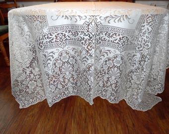 Vintage Quaker Lace Tablecloth or Lace Overlay New Old Stock in Original Box Maytime Pattern 1161 ECS SVFT