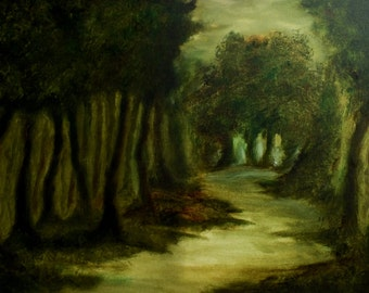 forest painting, landscape painting, tree paiting, oil painting, misty forest, tonal painting,multipanel art, panel painting