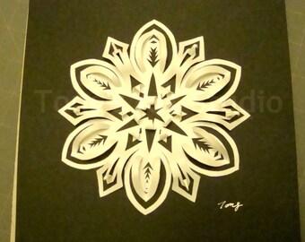 3D White Snowflake paper cutting on Black Background, Box frame,snowflake paper cut, 3D art, snowflake