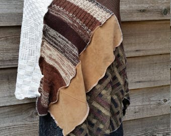 BOho recycled sweater poncho, repurposed, brown with creme accents hippie style