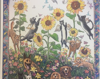 Animal Dreams, wall art of spiritual collage with flying cats and dogs, in heaven and on earth, framable painting