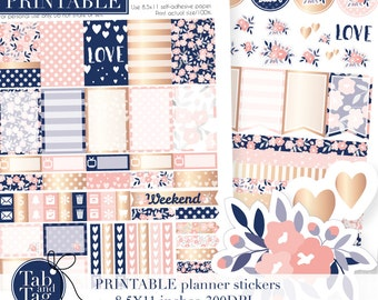 Printable planner stickers for MAMBI Happy Planner. Rose gold, pink and navy floral weekly kit. Two pack.